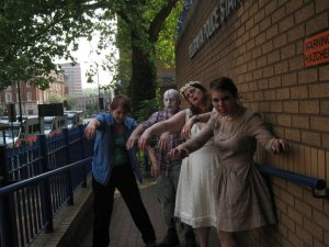 Four of the Starbucks Zombies outside Belgravia police station after their release